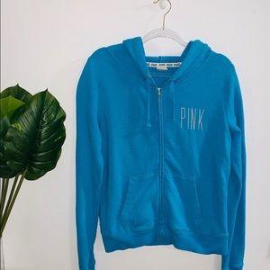 Pink Victoria's Secret Blue Zip Up Sweater